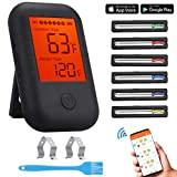Wireless Meat Thermometer,Comfook Bluetooth Meat Thermometer Digital BBQ Food Thermometer with 6 Probes,Alarm Monitor Cooking Thermometer for Oven Grilling Kitchen Smoker,Supports IOS & Android