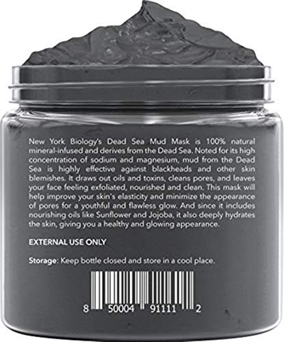 New York Biology Dead Sea Mud Mask for Face and Body - All Natural - Spa Quality Pore Reducer for Acne, Blackheads and Oily Skin - Tightens Skin for A Healthier Complexion - 8.8 oz