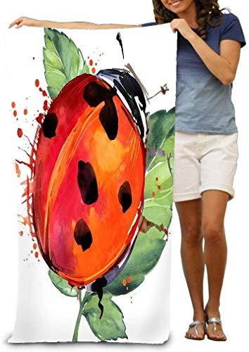 yuiytuo Toalla de baño,Juegos de Toallas Adult Soft Microfiber Printed Beach Towel Swimming Surf Gym SPA in piggraphics Pig Splash Watercolor Textured Ladybird Insect Ladybird Ladybird Fun