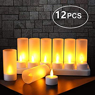 12 Pieces Flameless Candles Flickering Tea Lights Rechargeable 180 Days Warranty