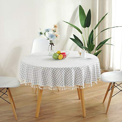 Meiosuns Manteles Redondo Mantel Circular Borla celosía Redondos Mantel de algodón Simple Uso Interior y al Aire Libre (Diámetro 120cm, Plaid Azul y Blanco)