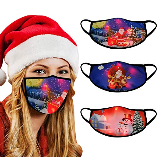 3PC Merry Christmas Holiday Face_Mask,LED Adult Cute Christmas Light Up Glowing For Men And Women (3PCS/D)