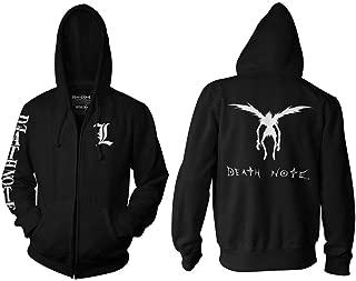 Death Note Adult Unisex L Chest Logo Sleeve Full Zip Fleece Hoodie