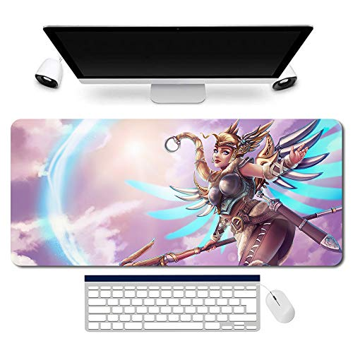 718361de - OW/Overwatch Mauspad Gaming Mousepad für PC Wars Gaming Large Table Mats (35.4×15.7 in / 90x40 cm) Support Customized,Extended Overwatch Mouse Mats Non-Slip Desk Pads genji Jesse·Mccree