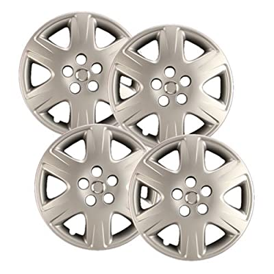 """Hubcaps.com - Premium Quality 15"""" Silver Hubcaps/ Wheel Covers fits Toyota Corolla, Heavy Duty Construction (Set of 4)"""
