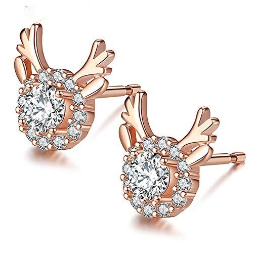 GSZP XF Jewelery - Pendientes de tuerca con diseño de cabeza de zorro y abeja, para mujer (color: cuernos 1)