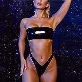 Traje De Baño para Mujer,Conjunto De Bikini De Cintura Alta Traje De Baño Brasileño Negro Traje De Baño De Vinilo Top De Tubo Diadema Bikinis Tanga Trajes De Baño con Cremallera Trasera, S