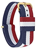 MOMENTO Correa de Reloj de Nato Nailon para Mujer y Hombre con Hebilla de Acero Inoxidable en Dorada Amarilla con Tela Azul Blanca Roja en 20mm