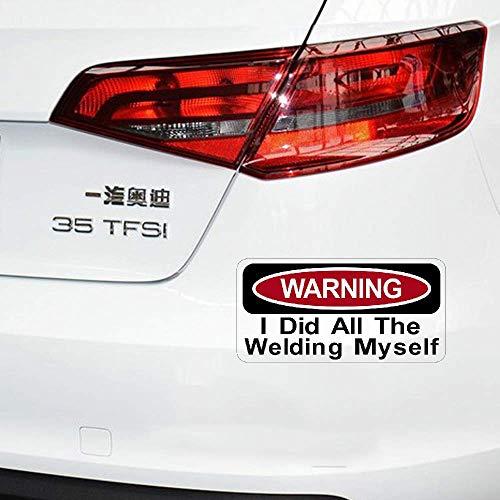 La advertencia de la etiqueta engomada del coche de la historieta hizo todos los accesorios de la soldadura yo calcomanía a prueba de agua para Suzuki Peugeot Skoda, 17cm * 8cm