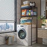 Estante de la torre del baño 2 capas sobre el estante de almacenamiento de la lavadora, el estante del baño con el estante de almacenamiento de múltiples capas ajustable, para la lavandería, el aseo.