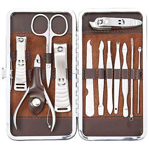 Abody Kit Manicure e Pedicure Professionale, 12 pezzi Manicure Set in Acciaio Inox con Forbici & Tagliaunghie & Custodia da Viaggio Portatile