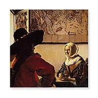 INOV 役人および笑う女 子 アートパネル アートフレーム ポスター インテリアアート 額縁なし 壁飾り 40x40cm