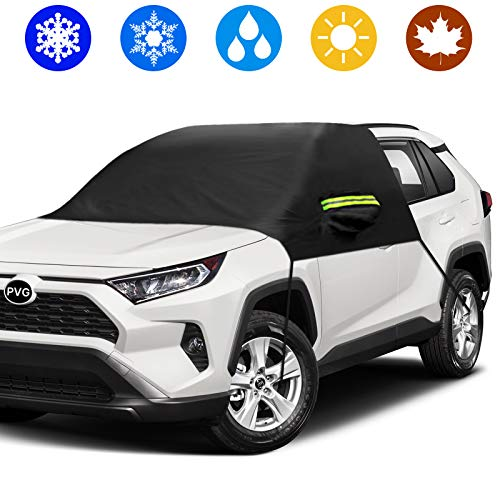 PVG Car Windshield Snow Cover, Windshield Ice Snow Cover Protector Waterproof Half Car Cover Windproof Frost Defense Protection for Car Front Windscreen, Extra Large Winter Cover Fit Most Car/SUVs