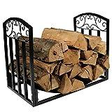 FUFU Rejilla de malla para chimenea de leña, soporte de madera, soporte de madera, soporte de almacenamiento, soporte de madera, cesta de metal, accesorios 60 x 35 x 46 cm