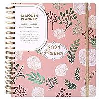 2021年のカレンダーノート、週刊および月刊のラベル付き日記、B5スパイラルカレンダーノートブック、2021年1月から2022年1月まで ピンク、196*228mm