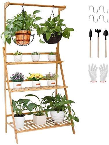 NSYNSY 3-stufiger Pflanzenständer-Aufhängeregal Bambuspflanzenleiter Faltbare Blume Organizer Pflanzenregal Gartenregale Lagerregal für Balkon Wohnzimmer Dekor (Größe: 70 cm)