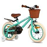 HILAND ins Star - Bicicleta infantil de 14 pulgadas para niños de 3 a 6 años, con ruedas de apoyo, freno de mano y freno de contrapedal, color verde