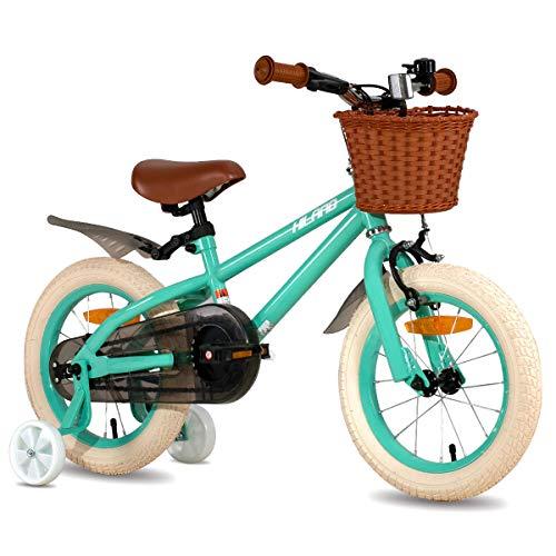 HILAND ins Star 14 16 Zoll Kinderfahrrad für Mädchen Jungen 3-6 Jahre mit Stützräder, Handbremse und Rücktritt grün