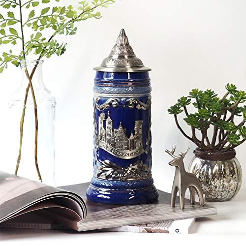 Decoración de taza de personalidad de cerámica azul, taza de cerveza alemana artesanal de vidrio, taza de alta capacidad de 24 cm, taza de cerveza de cerámica Taza de personalidad Taza creativa hec