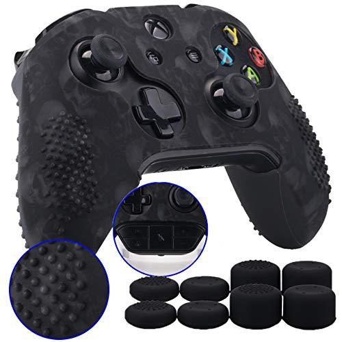 9CDeer 1 Pezzo di Stampa con Personalizzato Silicone Copertina Pelle Manica Caso + 8 Thumb Grips per Controller Xbox One/S/X Teschio nero Compatibile con Adattatore Stereo per Cuffie Ufficiale