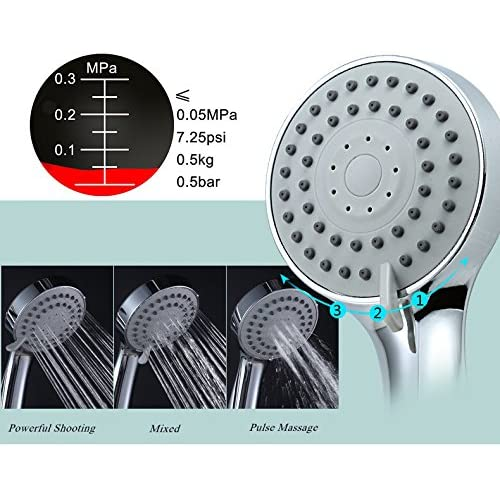 IceMoon High Pressure Handheld Shower Head with Powerful Shower Spray against Low Pressure Water Supply Pipeline,Multi-functions,3.4 Inch 3-Setting Bathroom Handheld Shower,easy one-handed operation
