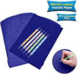 100 Sheets Carbon Transfer Paper,Blue Carbon Copy Paper Tracing Paper with 5pcs Double-end Embossing Stylus for Wood,Paper,Canvas and Other Art Surfaces (8.3 x 11.7 inch)