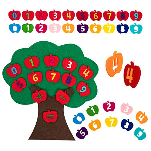 Vanmor Felt Apple Tree Toy - Apple Counting Math Toy Matching Number Sorting Game Montessori Toys for Toddlers STEM Educational Toys for Kids Preschool Learning Toys for 3 4 5 Year Olds Travel Game
