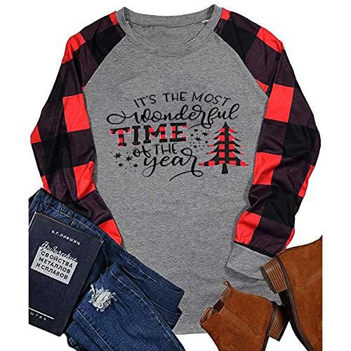 YSLMNOR Womens Christmas Shirts Plaid Raglan Long Sleeve Crewneck Tops Casual Printing Tunic