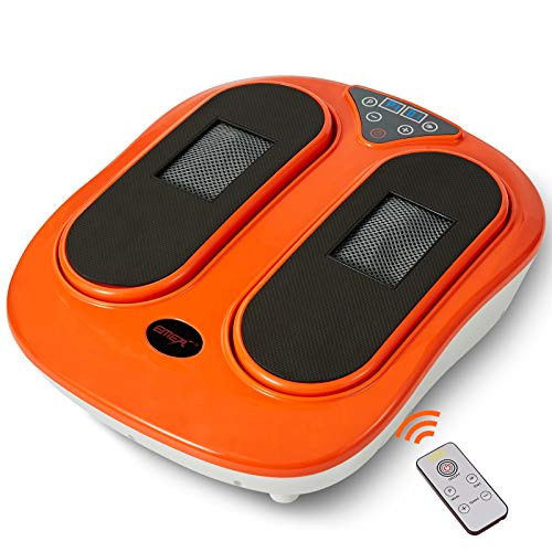 EMER Foot Massager Machine with Remote Control, Adjustable Vibration Speed Electric Foot Massager-Shiatsu Deep Kneading, Increases Blood Flow Circulation Foot and Leg Massager (Orange)