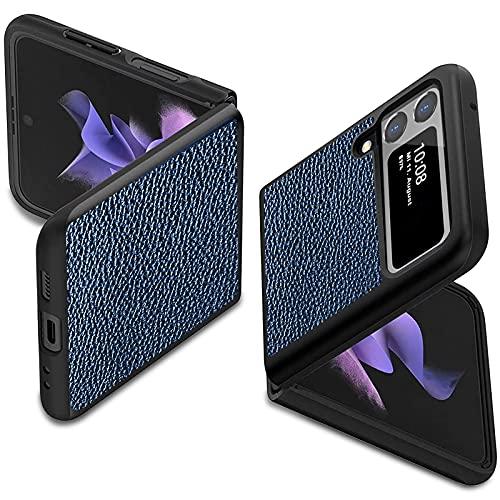 2Buyshop für Samsung Galaxy Z Flip3 Hülle Leder Handyhülle für Samsung Galaxy Z Flip3 5G Lederhülle PU Leder + Harte PC Ultra Dünn Slim Ledertasche Schutzhülle für Samsung Z Flip3 5G 2021 Tasche