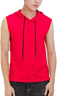 Ptyhk RG Mens Hoodies Bodybuilding Gym Solid Color Sleeveless Tank Shirts Workout Vests