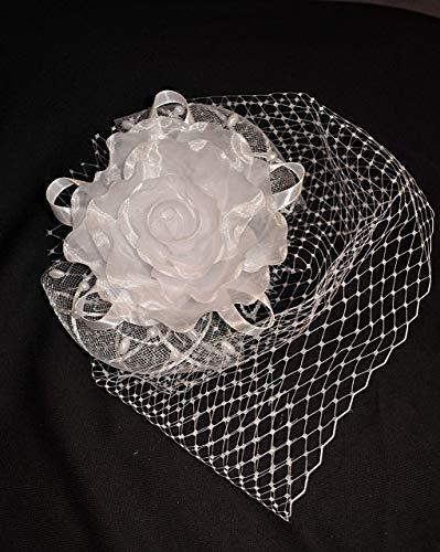 Fascinator Braut Haarschmuck Organza Rose Blume Netz mit Schleier Perlen Weiß Ivory
