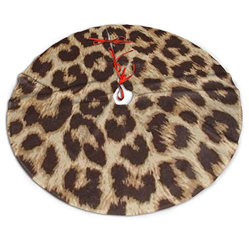 ghkfgkfgk Brown Leopard Print Christmas Tree Decorations Skirt Great Large Plush Faux Fur Tree Skirts Mat Xmas Ornaments for Holiday Party Home Gift 36 inch Indoor Outdoor