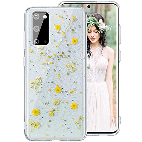 Galaxy S20 Case for Women Girls, iDLike Clear Glitter Pressed Dried Real Floral Flower Cute Design Soft Silicone Protective Phone Case Cover for Samsung Galaxy S20 6.2 2020, Yellow