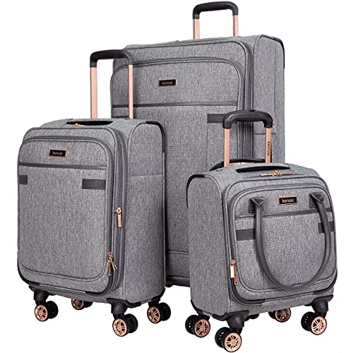 kensie Women's Hudson Softside 3-Piece Spinner Luggage Set, Heather Gray, (20/24/28)