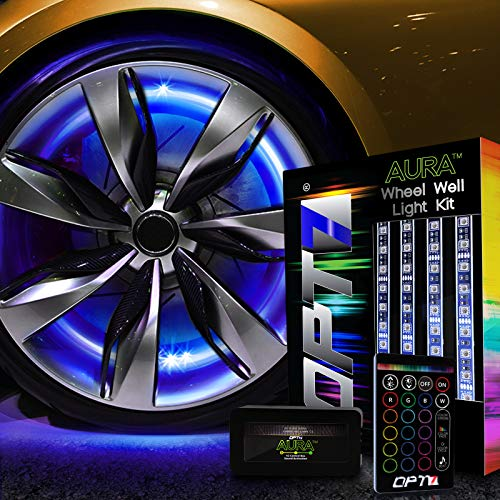 OPT7 Aura Wheel Well RGB LED Kit w/Wireless Remote, Multicolor Tire Rim Lights for Cars   3-Into-1...