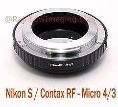 Fotasy Nikon S /Contax RF Rangefinder Lens to Micro 4/3 M43 Adapter, fits Olympus E-PL8 E-PL9 E-M1 E-M5 E-M10 I II III E-PM2 E-PM1 Pen-F E-M1X/ Panasonic G7 G9 GF8 GH5 GX7 GX8 GX9 GX85 GX80 G90 G91