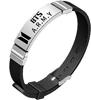 Teblacker BTS Bracelet | Unisex Kpop Bangtan Boys Jungkook, Jimin, V, Suga, Jin, J-Hope, Rap Monster Birthday Wristband Wristlet | Best Gift for The Army (Black BTS Army)