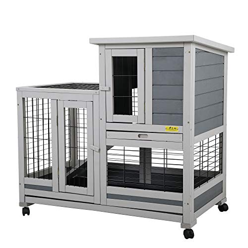 COZIWOW Indoor Outdoor Rabbit Hutch,Small Animal Houses & Habitats,Rolling Large Bunny Cage with Removable Tray, Two Story Guinea Pig Hamster Hutch