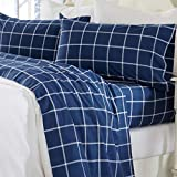 Great Bay Home 4 Piece Extra Soft Windowpane 100% Turkish Cotton Flannel Sheet Set. Heavyweight, Warm, Cozy, Luxury Winter Deep Pocket Bed Sheets. Belle Collection (Full, Navy / White)