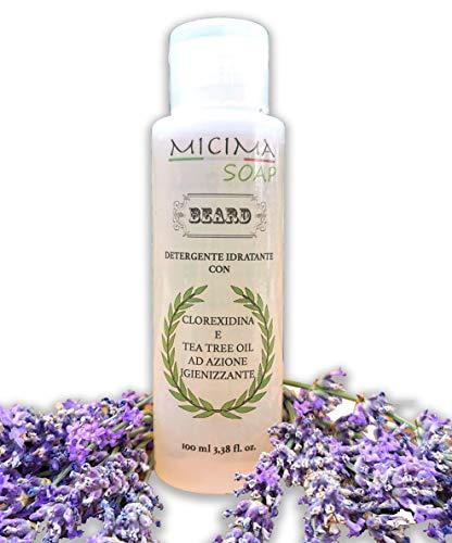 Shampoo da Barba Prod. Italiana100% Igienizzante e Idratante con Tea Tree oil, Clorexidina, Lavanda, Malaleuca, con materie prime naturali con azione Antivirale