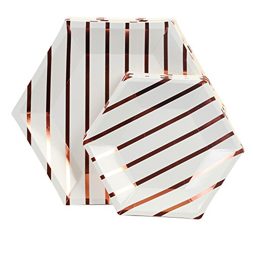 Andaz Press Rose Gold Foil Striped Paper Party Plate Sets, Hexagon Shape, 10.5-inch 7.5-inch, 36-Pack, Bulk Geometric Disposable Modern Party Tableware Décor for Kids Birthday, Graduation, Wedding