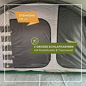 skandika Hurricane 12 - Tente de Camping familiale Tunnel - 12 Personnes - 700x405 cm - avec ou sans Tapis de Sol Cousu (Gris/Orange/Tapis de Sol Amovible)