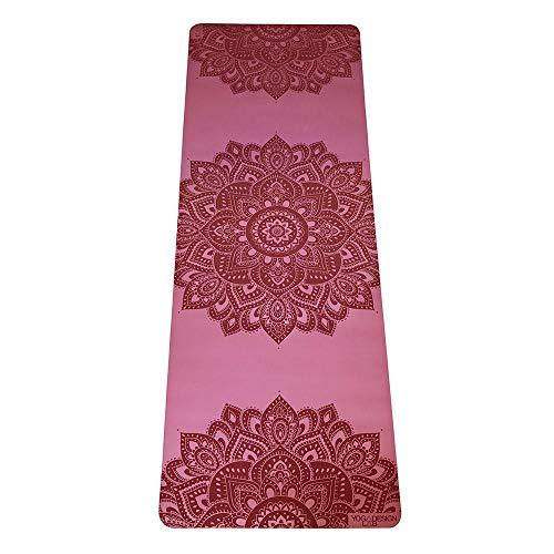 Yoga Design Lab | Esterilla Infinity | Textura y diseño Antideslizante para Alinear y apoyar su práctica. | Ecológica | Acolchada | Incluye Cinta! (Mandala Rose, 5mm)