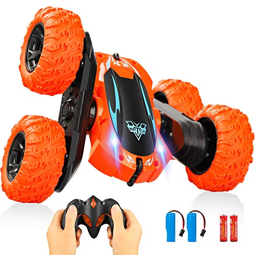 Remote Control Car,2.4GHz Electric Race RC Stunt Car, Double Sided 360°Flips Rotating Vehicles with LED Headlights,4WD High Speed Off Road Truck Kids Toys for 3 4 5 6 7 8-12 Year Old Boys Teens Adults
