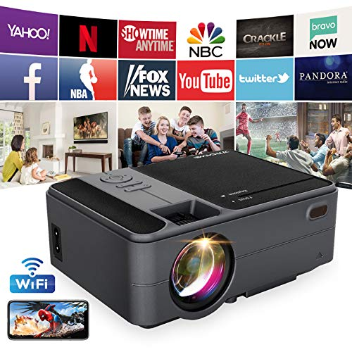 Mini Projector with Bluetooth, 3800 Lumen Portable WiFi Projector Support Full HD 1080P, with Zoom Function, Synchronize Smartphone Screen, Compatible with TV Stick, PS4, PC, for Home Theater