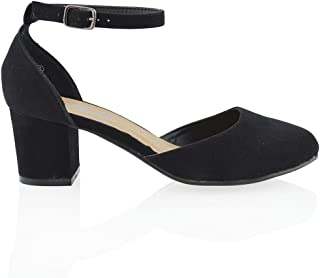 Womens Closed Toe Ankle Strap Comfort Block Low Heel Pumps Dress Party Evening Shoes