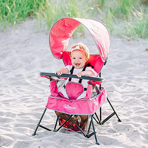 Baby Delight Go with Me Chair   Indoor/Outdoor Chair with Sun Canopy   Pink   Portable Chair converts to 3 Child Growth Stages: Sitting, Standing and Big Kid   3 Months to 75 lbs   Weather Resistant