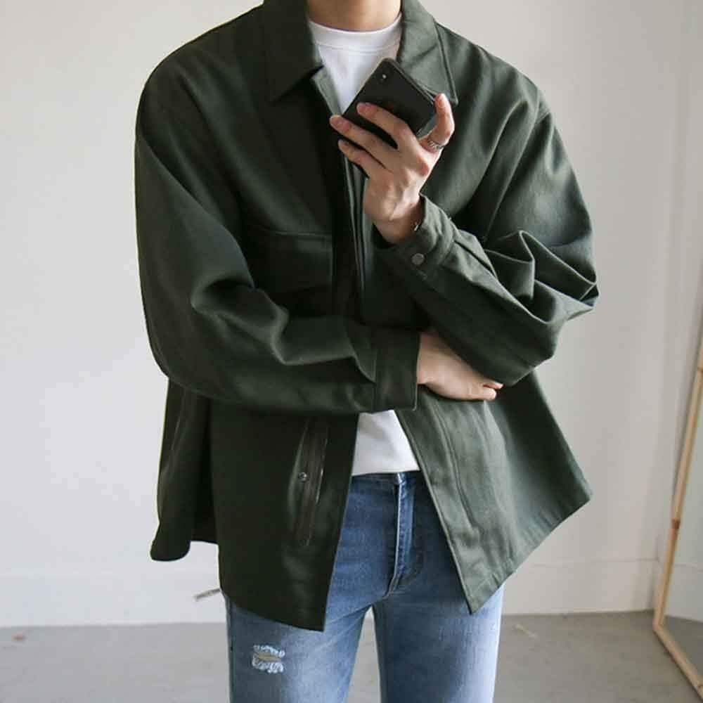 DJASM fzwt Jacket Workwear Jacket Men's Spring and Autumn Trend Men's All-Match Men's Autumn Jacket Overcome (Size : Large)