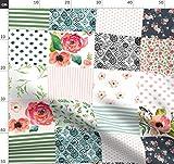Quilt, Boho, Blumen, Rosa, Mädchen, Wasserfarben Stoffe -